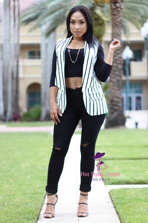 0cb245814f Shanae Black Off White Vertical Striped Vest