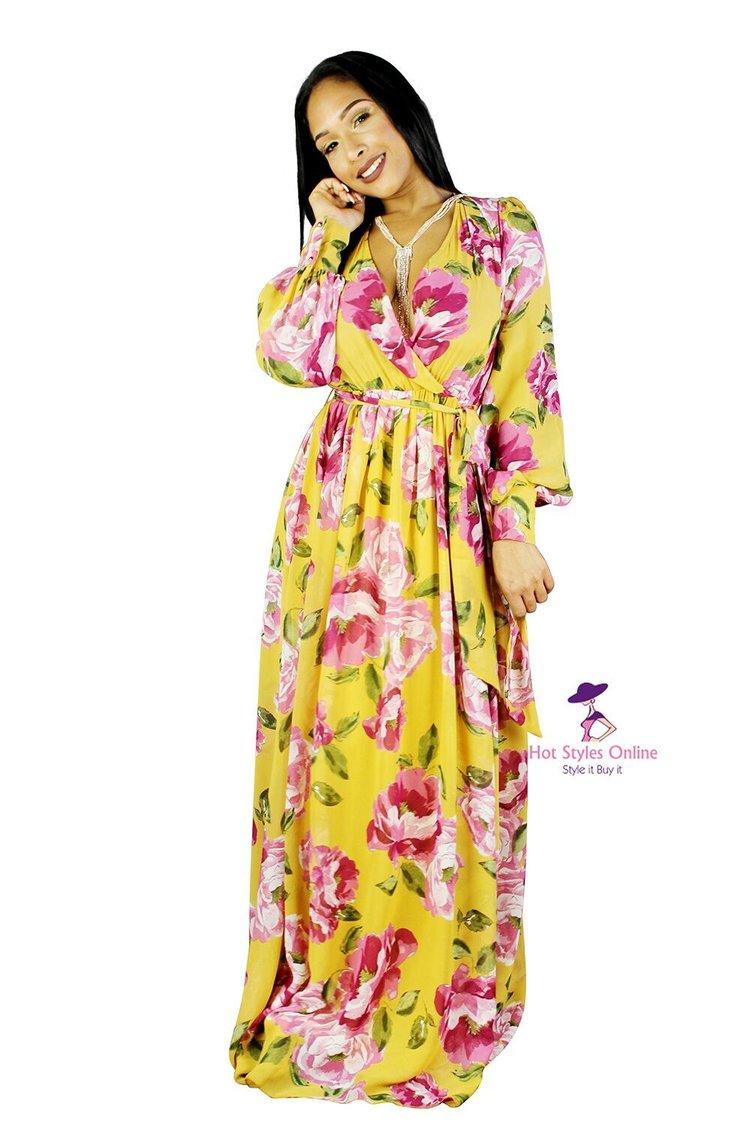 40e632d4849c Lavish Mustard Long Sleeve Flower Print Maxi Dress. 34.99.  IMG_1769_preview.jpeg ...