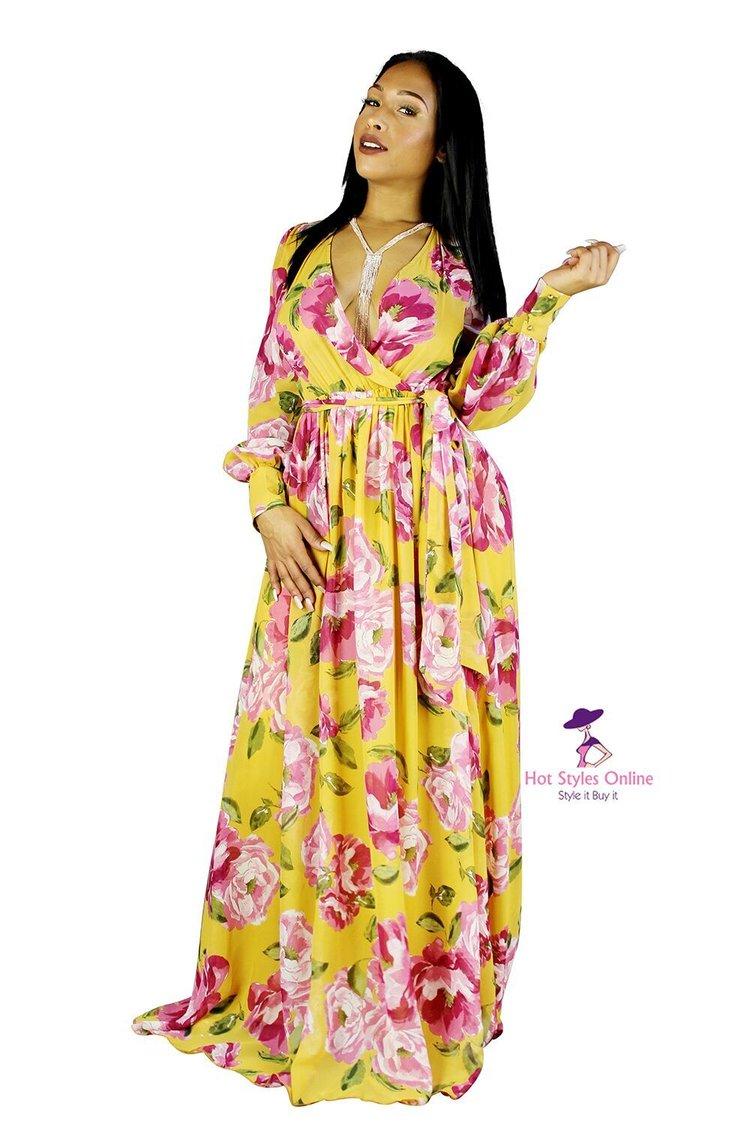 18534c3e9743 Lavish Mustard Long Sleeve Flower Print Maxi Dress — Hot Styles Online