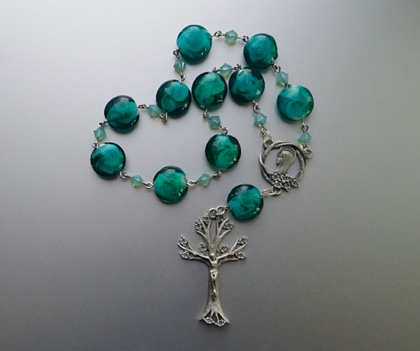 Turquoise lamp work chaplet with pewter center and crucifix (commission)