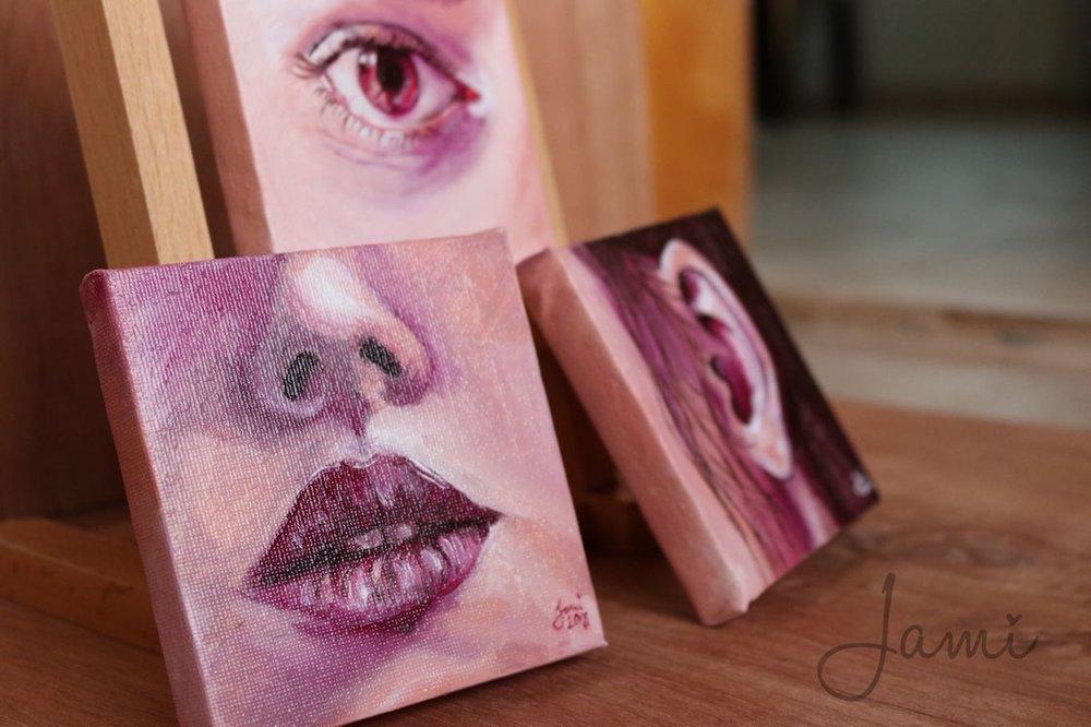 """Oil paint studies 4""""x4"""" 2018"""