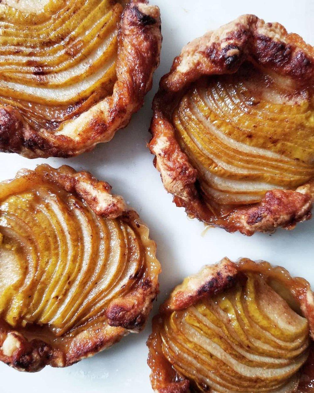 Pear cardamom honey tarts