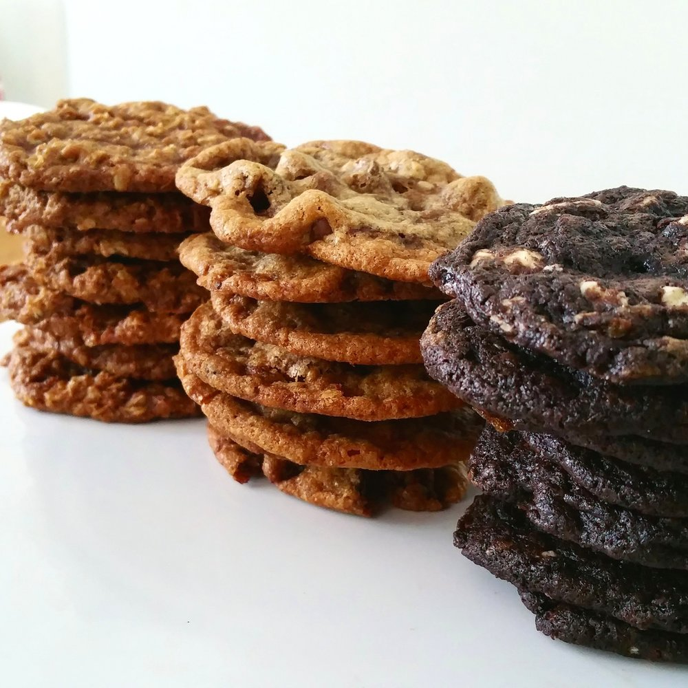 Oatmeal Toffee Butterscotch, Triple Chocolate Chip, Chocolate chocolate toffee