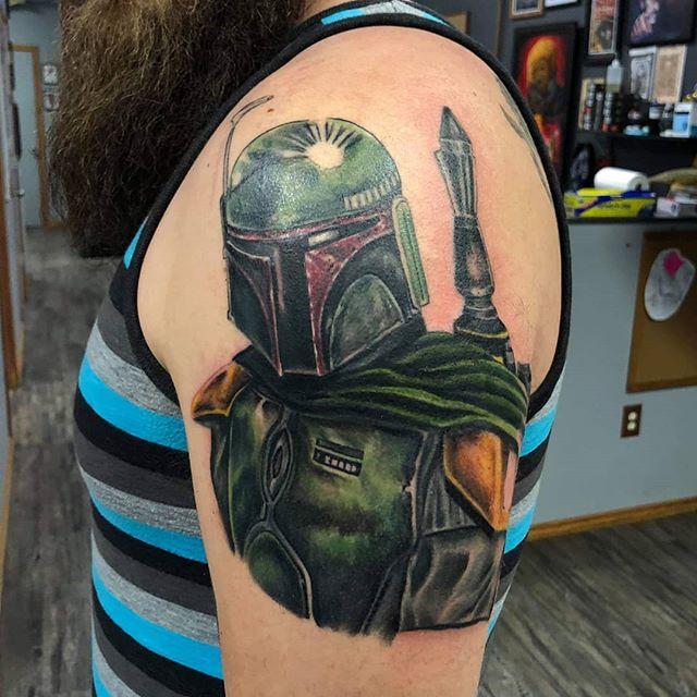 """As you wish."" Would you get a tattoo from your favorite fandom? I have appointments available for @pittsburghtattooexpo and at @lightningrevivaltattoo .. Proudly using @truetubes @saniderm @electrumstencilproducts .. .. #starwars #inagalaxyfarfaraway #starwarstattoo #bobafett #mandalorian #starwarscelebration #puremichigan #lightningrevivaltattoocompany #tattoosbymattnelson #ink #tattooed #inked #bodyart #dopeart #inkedguys #tattooedguy #guyswithtattoos #beardandtattoos #michigan #pittsburghtattooexpo #pittsburgh #art #tattoooftheday #grandrapids #starwarslife #mtfbwy #instagood"