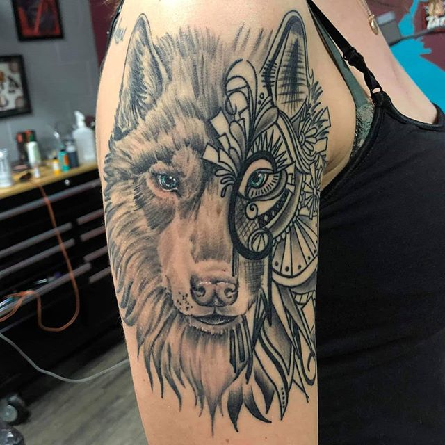 Who else likes mash-ups for their art and tattoos? Had fun doing this one at @lightningrevivaltattoo everything is healed except eyes and the white! .. Proudly using @truetubes @saniderm @electrumstencilproducts @empireinks @tattooeverythingsupplies @holygrailtattoocartridges .. .. #wolftattoo #michigantattooers #michigan #tattoo #ink #wolf #mandala #mandalatattoo #inkedgirls #girlswithtattoos #grandrapids #byroncenter #lightningrevivaltattoocompany #tattoosbymattnelson #tattoosandpiercings #inkaddict #art #bodyart #tattooedgirls #tattoos #armtattoo #blackandgrey #bnw #blackandgreytattoo #bng #instagood #tattoooftheday #tattoosofinstagram