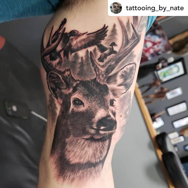 Posted @withrepost • @tattooing_by_nate I cant get enough of this wildlife art! Stay tuned for this sleeve! Its gonna be nuts. #LRNate #LRTC #lightningrevivaltattoocompany #lightningrevivaltattoo #lightningrevival #wildlife #deer #hunting #whitetaildeer #deertattoo #wildlifetattoo #blackandgreytattoo #blackgreytattoo #tattoo #tattoos #grandrapidstattoo #grandrapids #michigantattooartist #michgansfinest #michigansbesttattooers