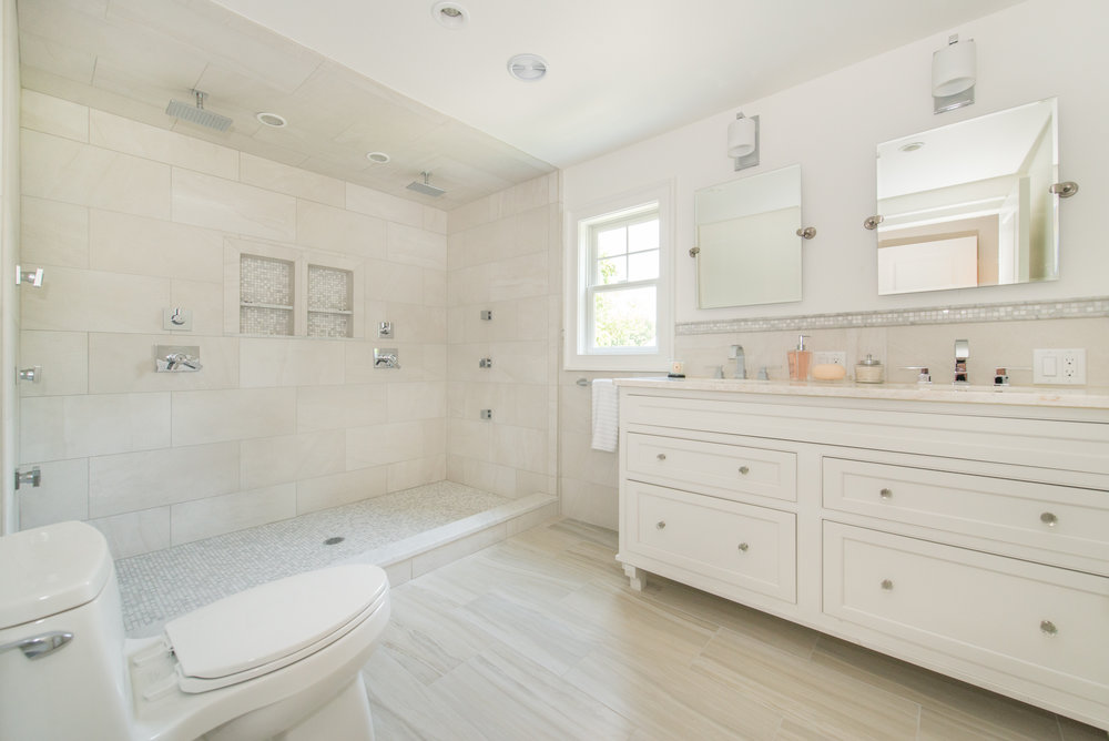 New Master Bath has a party size shower with dual controls