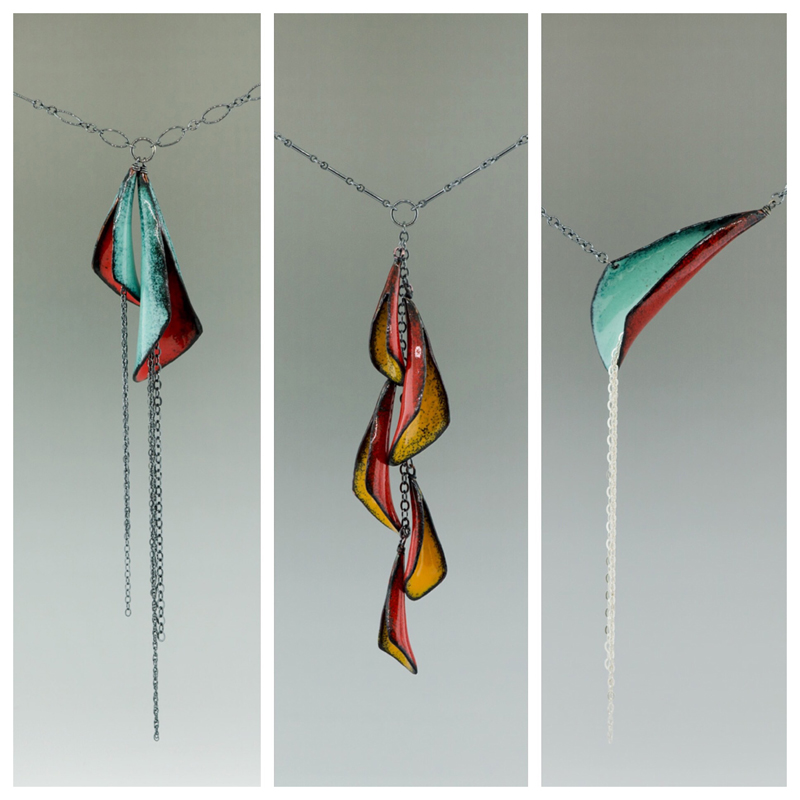 New enameled copper and sterling silver necklace ideas I've been kicking around...