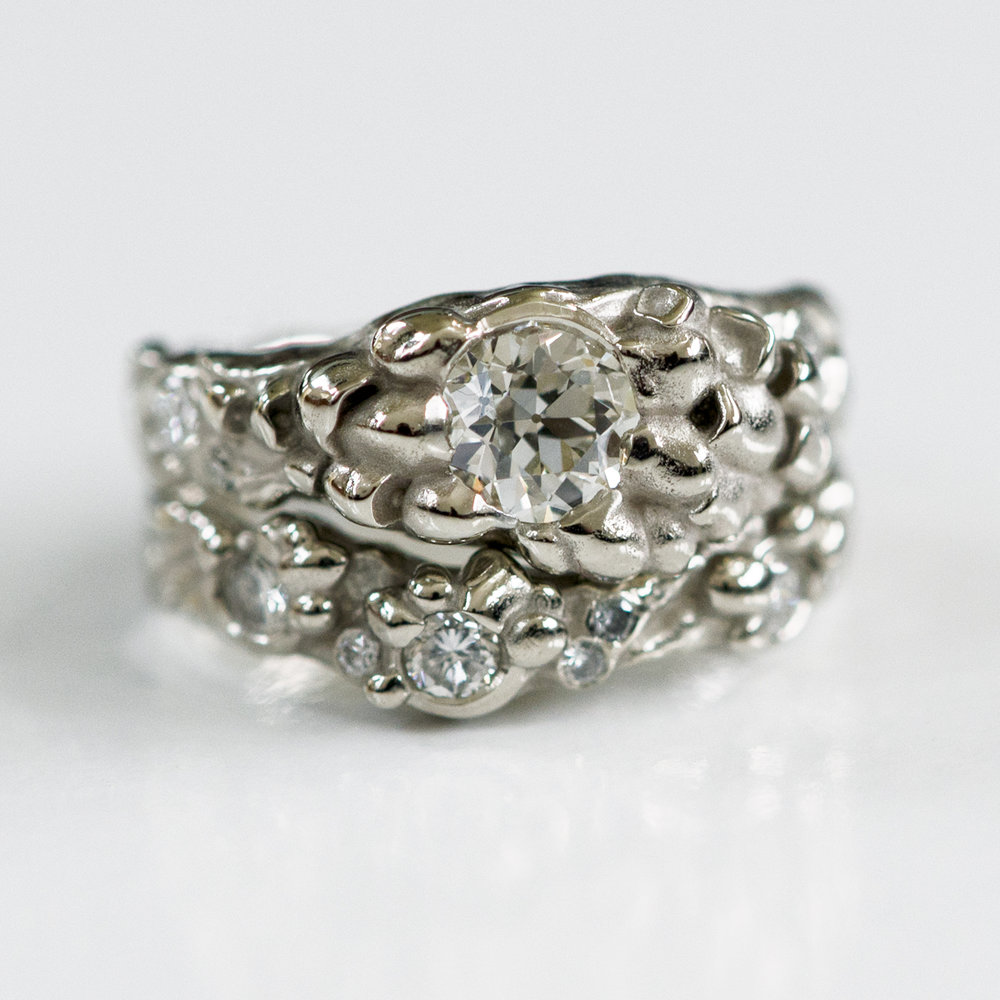 CG-Grisez-wedding ring set-Genavie-mushroom_water worn rock
