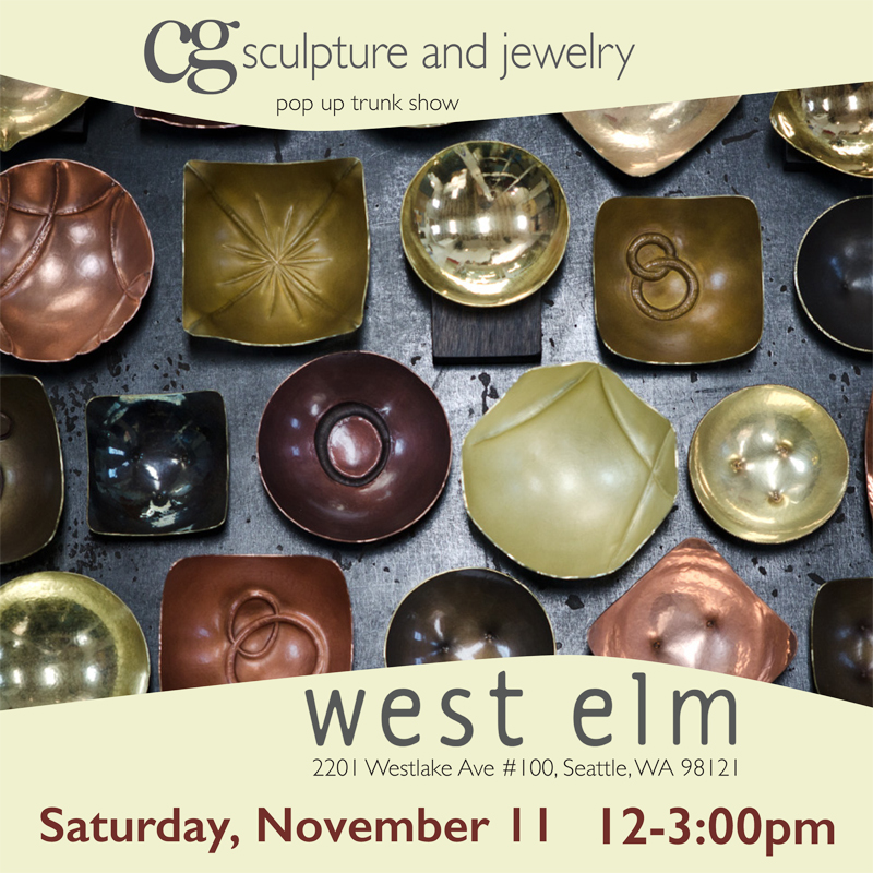Come visit me this Saturday at West Elm in Seattle! Have fun perusing beautiful design for your home and get the added bonus of buying local unique gifts from yours truly. In addition to  one of a kind and limited edition jewelry and enameled Bitty Bowls and Spoons, I'll have a collection of brand spanking new one of a kind hammered copper and brass bowls (pictured above).