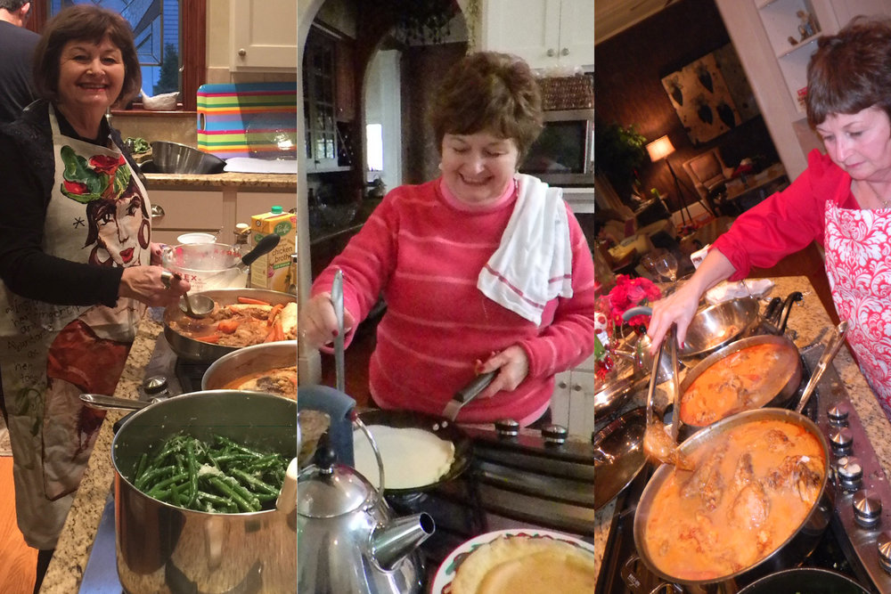 Mom cooking up Christmas feasts for our big family over the years. Our tradition is a family recipe for chicken paprikash and spaetzle for dinner and my mom's famous (to me!) palacsinta for breakfast.