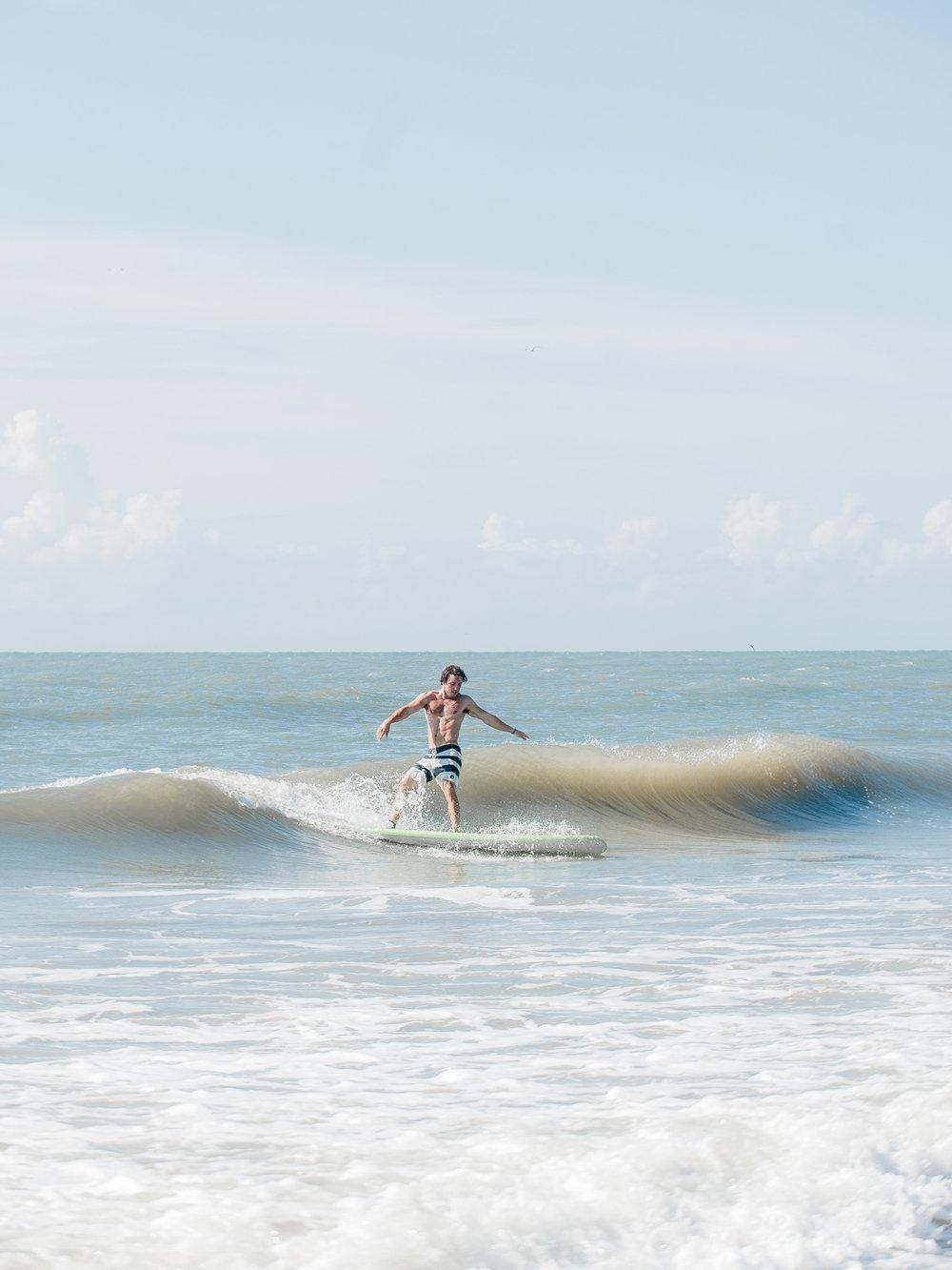 Gabe shredding in his surf lesson.