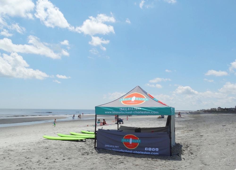 Isla Surf's Tent on Folly Beach