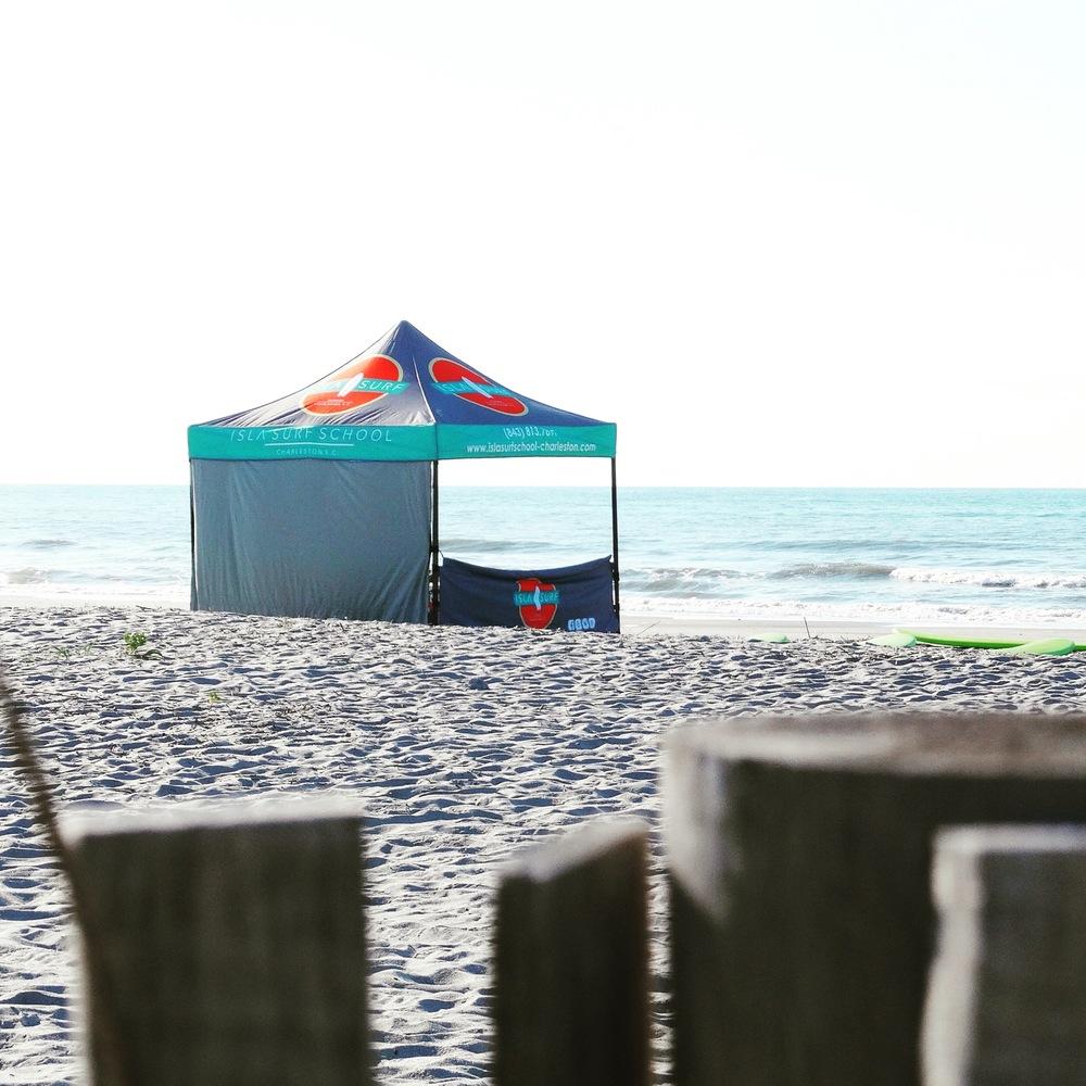 Isla Surf School's set up on Folly Beach!