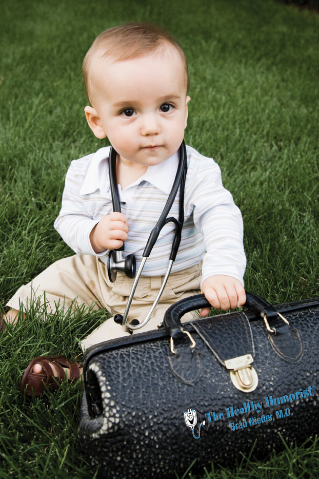 Baby with Stethoscope and Doctor Bag of Health Care Comedy