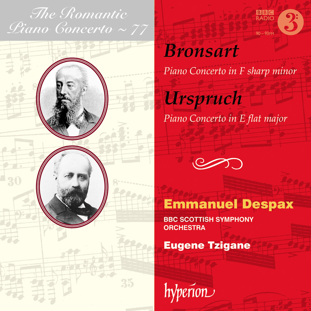 "The Romantic Piano Concerto Album - Bronsart & Urspruch: Piano ConcertosEmmanuel Despax (piano), BBC Scottish Symphony Orchestra, Eugene Tzigane (conductor)Hyperion RecordsThe common thread - as so often in The Romantic Piano Concerto series - is Liszt, in whose Weimar circle both composer-pianists featured here moved. Both concertos are pleasingly substantial, and the typically demanding piano writing is powerfully dispatched by Emmanuel Despax.""It's hard to imagine it being better played than by these forces, Emmanuel Despax displaying a wide range of colours combined with an easy virtuosity ... It requires prodigious playing from soloist and orchestral musicians to make it sound as effortless as here, and that it does is tribute as much to conductor Eugene Tzigane as to Despax."" Gramophone"
