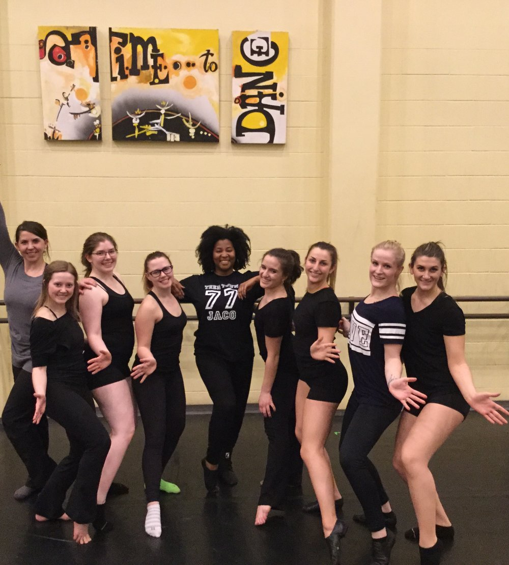 "Melanie with the cast of her new neo-jazz work for the University of Idaho dance program, ""Walk, Run, Vibes"". (click on photo to enlarge)"
