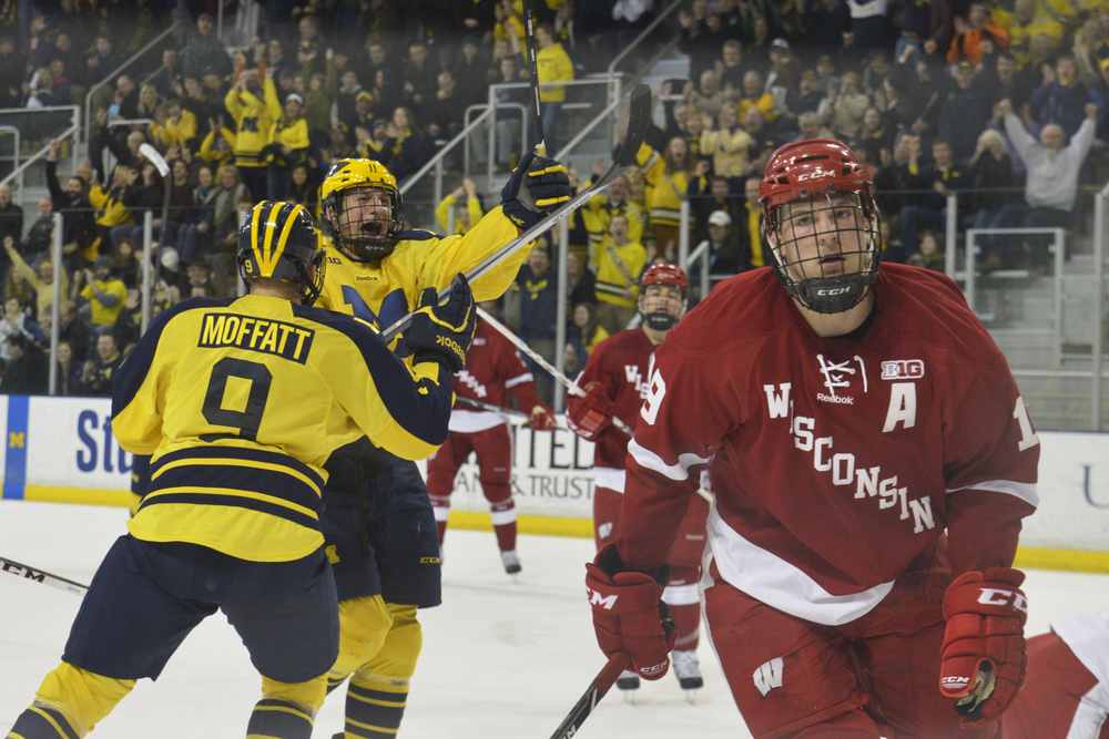 Michigan Forward Zach Hyman celebrates his goal against Wisconsin on January 31, 2014 at Yost Arena in Ann Arbor, Michigan.
