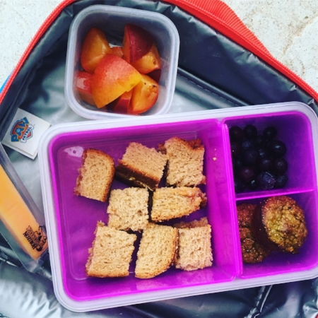 Snacks and lunch packed for daycare: 1/2 peanut butter and jelly sandwich, blueberries, oat and spinach muffin, string cheese and nectarine slices.