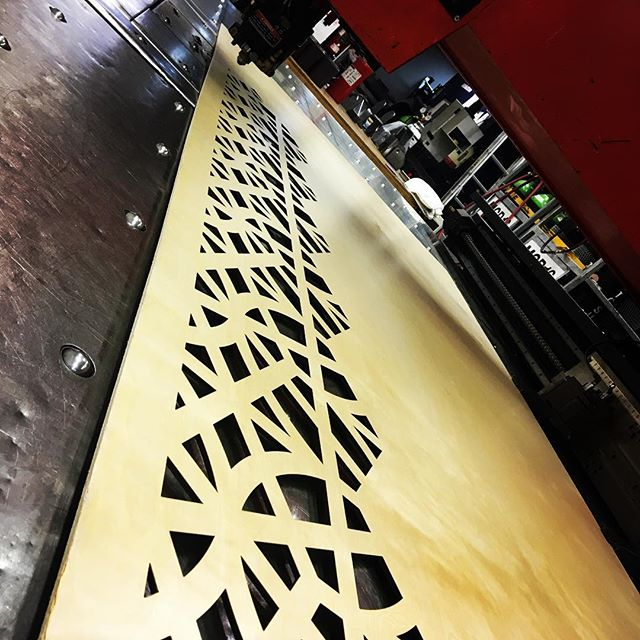 35 sheets of this pattern - it's a long way to the top if you wanna rock and roll... #decorativecreens #lasercutting #architecture #plywoodart #yvrarchitecture #acdc #highvoltage #becauseimlisteningtoitnow #whatdoyoudoformoneyhoney #thatsalsoacdc