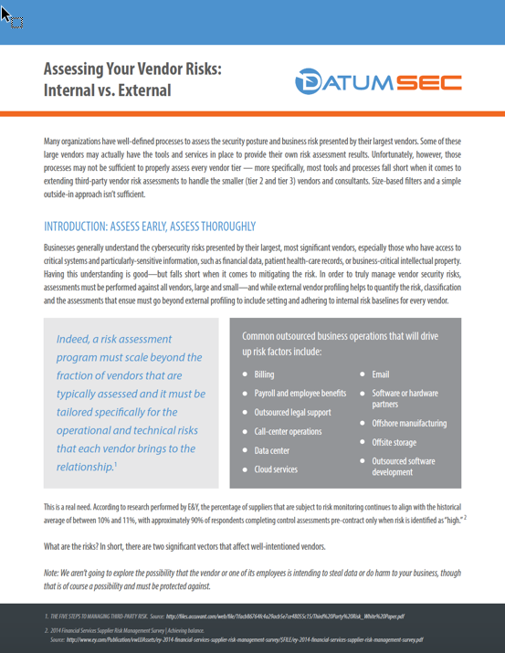 White Paper Assessing Your Vendor Risks: Internal vs. External