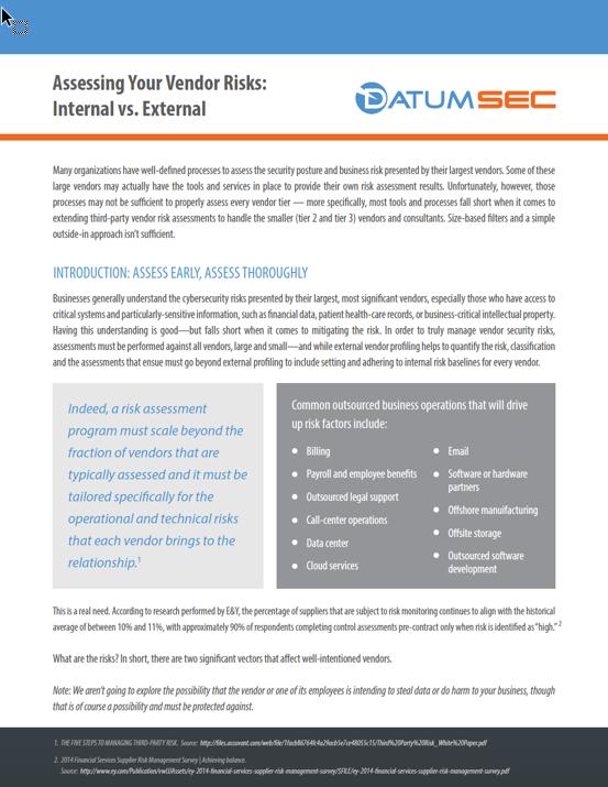 White Paper Assessing Your Vendor Risks: Internal vs. External
