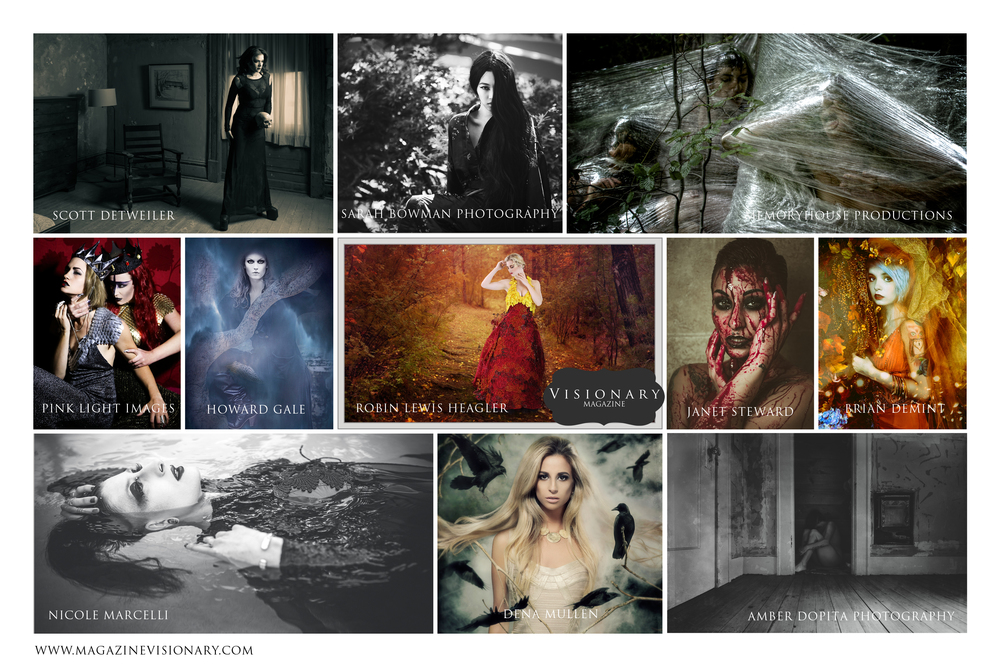 Featured Artists for the October / November 2015 Issue include:   Amber Dopita Photography    Brian DeMint - Eyeworks Photography    Howard Gale    Janet Steward    Jen Shu - Pink Light Images    Memoryhouse Productions    Nicole Marcelli    Dena Mullen    Robin Lewis Heagler    Sarah Bowman Photography    Scott Detweiler    Kelsey Wideman - Costumes