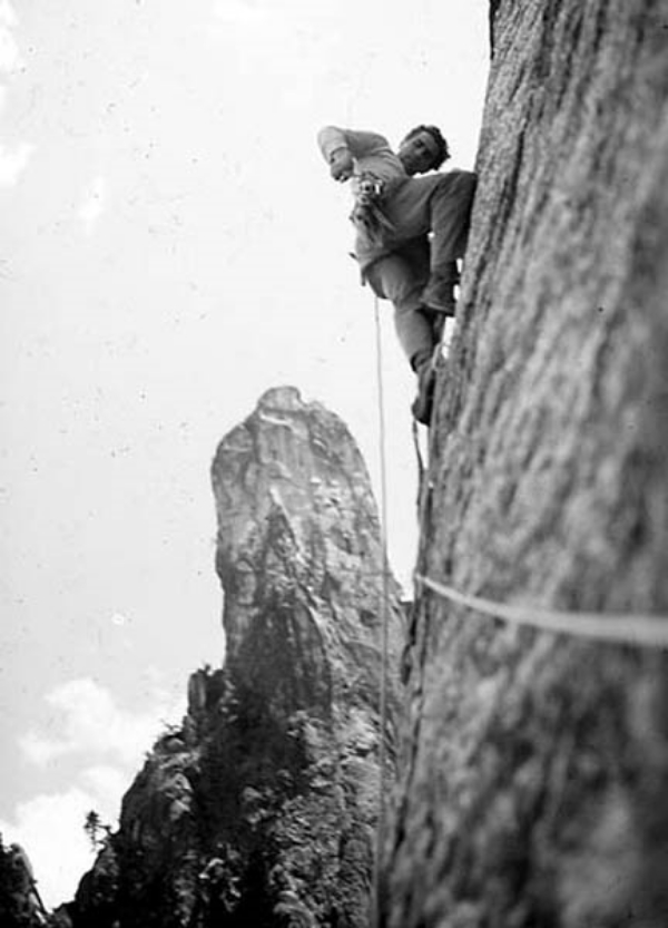 Warren Harding leading on the first ascent of the East Buttress of Middle Cathedral Rock. Photo by Bob Swift.