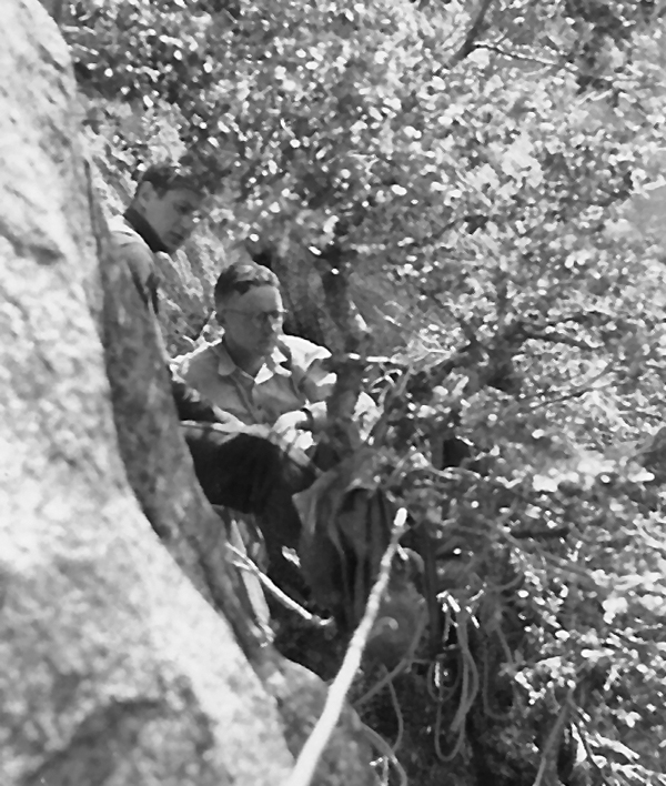 Jules Eichorn and Bestor Robinson belaying in a tree.