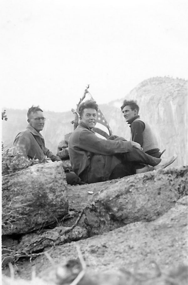 Bestor Robinson, Richard Leonard and Jules Eichorn on the summit of Higher Spire during the first ascent in 1934.