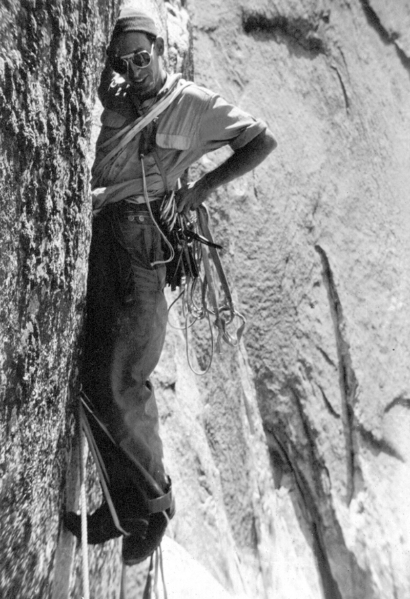 Royal Robbins leading during the first ascent in 1957. Jerry Gallwas collection.
