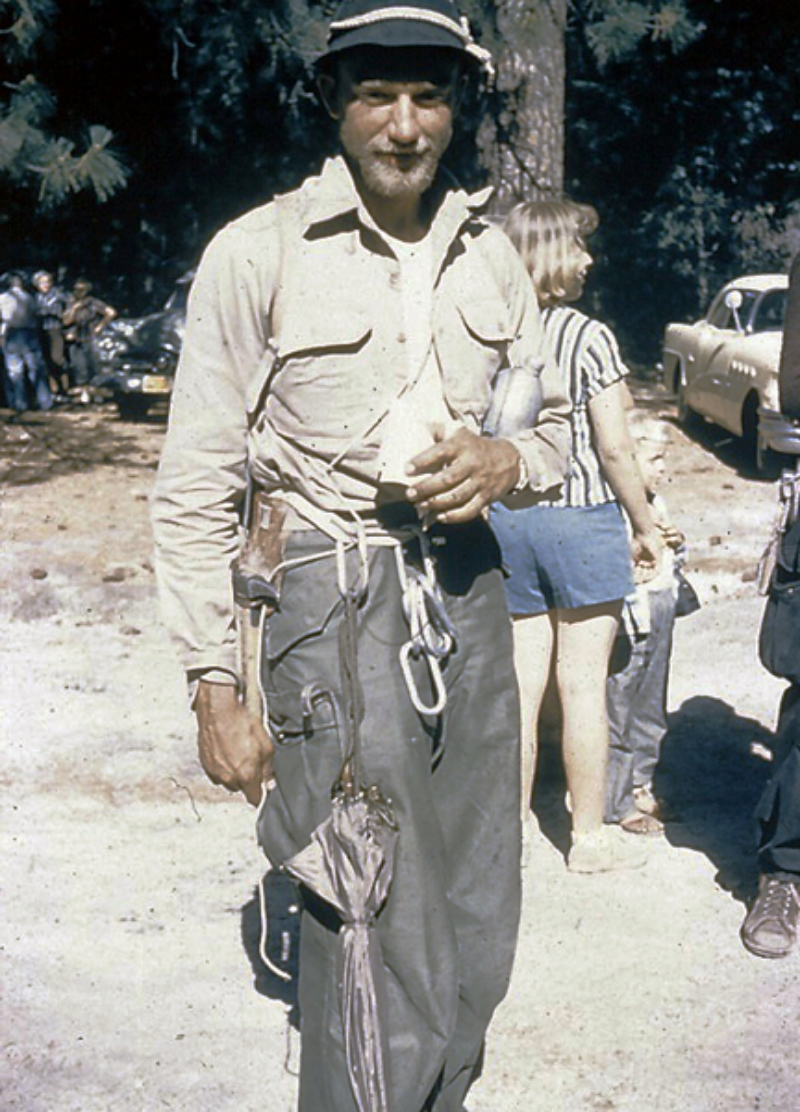 Dolt in Camp 4. Note the umbrella clipped to his waist.