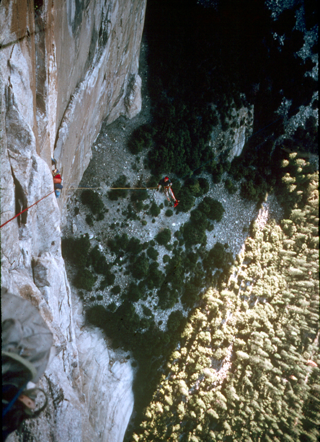 Jay Fiske jugging in space during the first ascent in 1975.