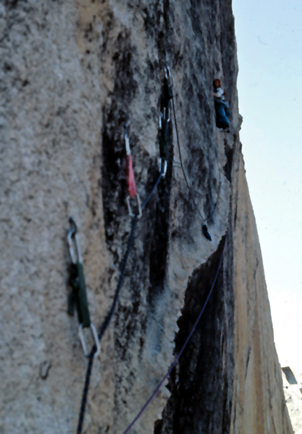 Dave Schultz leading the Yardarms (5th) pitch of Karma during the first ascent in 1986.Photo by Dave Schultz..jpg
