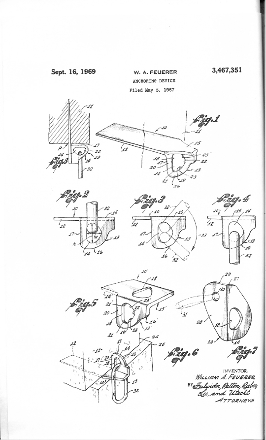 Dolt-piton-eye-patentEye patent for bolts and pitons. The unique D shape of the eye reduced leverage and allowed two carabiners to be attached to it..jpg