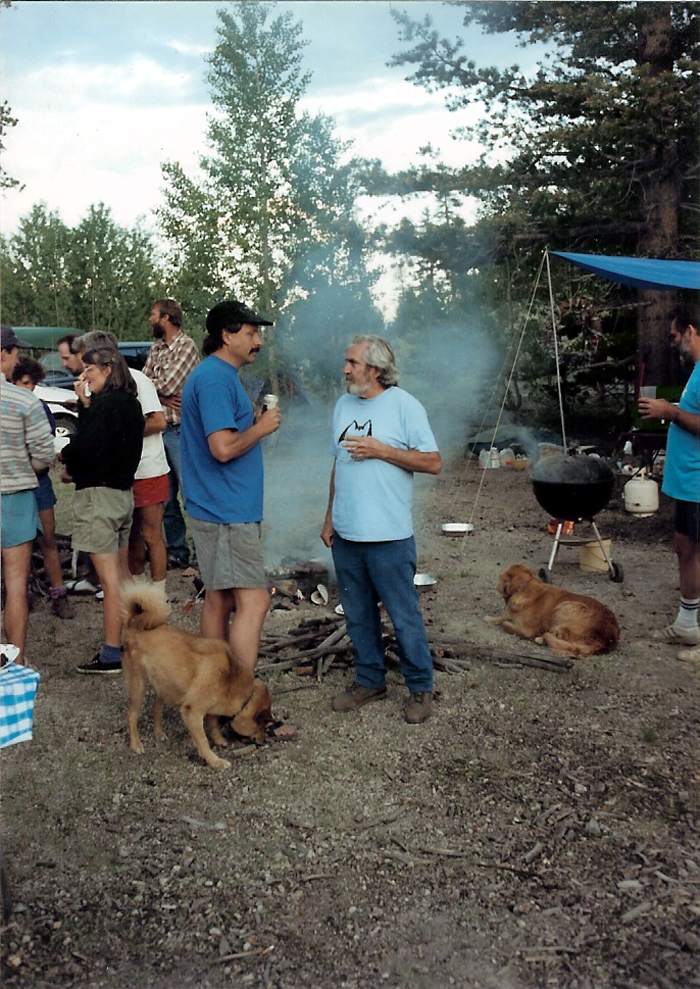 Ken Yager and Warren Harding talking at Warren's birthday party at the Stumps in 1993. Photo by Errett Allen