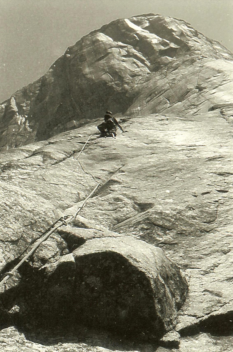 Warren Harding leading the initial pitches to Sickle Ledge during the first ascent of the Nose of El Capitan, 1957.