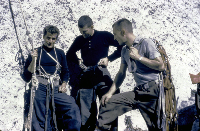 Warren Harding, Richard Calderwood and Wayne Merry at the start of the fixed ropes just before the final push on the Nose during the first ascent, 1958..jpg