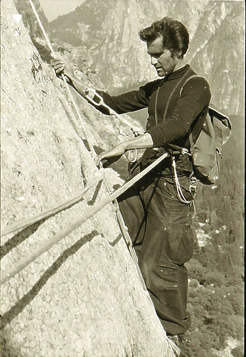 Warren Harding during the first ascent of the Nose of El Capitan, 1957