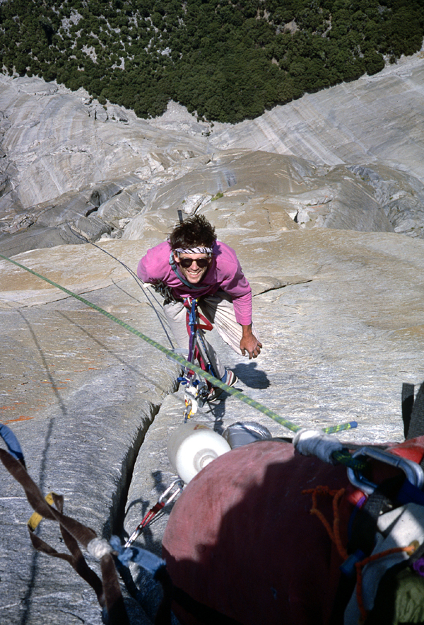 Donny Reid jumaring on the Salathe Wall of El Capitan in 1986. photo Ken Yager