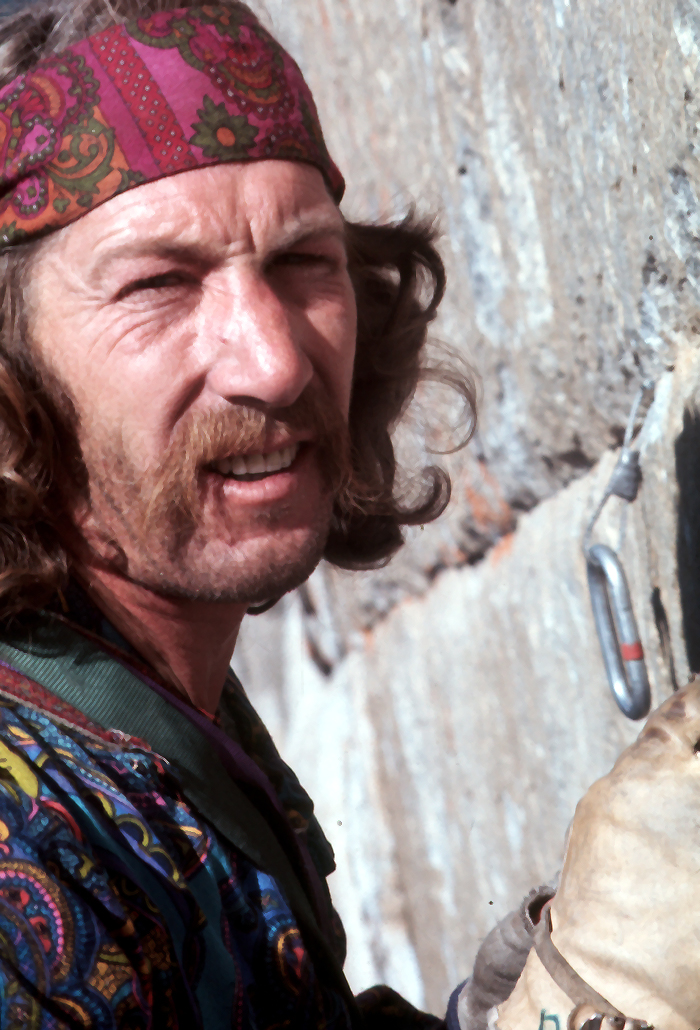 Jim Bridwell during the first ascent of the Pacific Ocean Wall, El Capitan, May 1975.