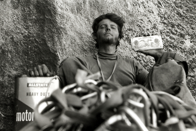 Joe Fitschen hamming it up at the Camp VI bivy during the second ascent of the Nose, El Capitan, 1960.