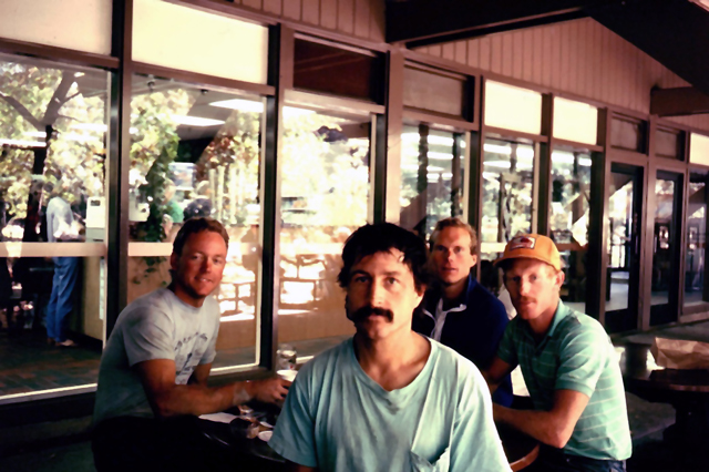 Keith Guy, Ken Yager, Walt Shipley and Mike Jones relaxing at the Deli after work, 1986 or 1987.John Middendorf photo.