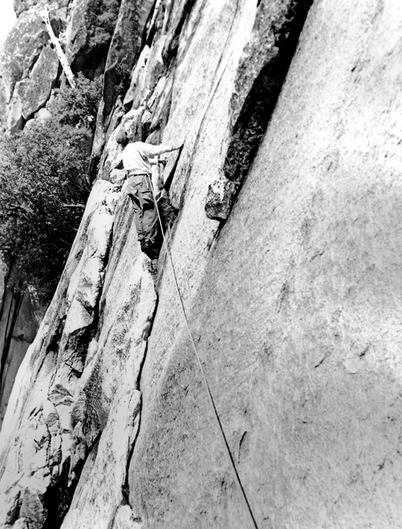 Ronald Hahn on Royal Arches in the 1950's. The Rotten Log can be seen in the upper left corner. Photo from the Bob Swift collection.