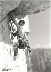 Tom Frost leading the Roof pitch of the Salathe Wall during the first ascent in 1961.