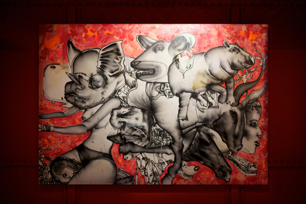 """Munko, batgirl on bike, old man, mechanical bull, horse head, ..."" by David Choe, 2010. 213.5 cm x 305 cm  Mixed media, acrylic, latex, oil"