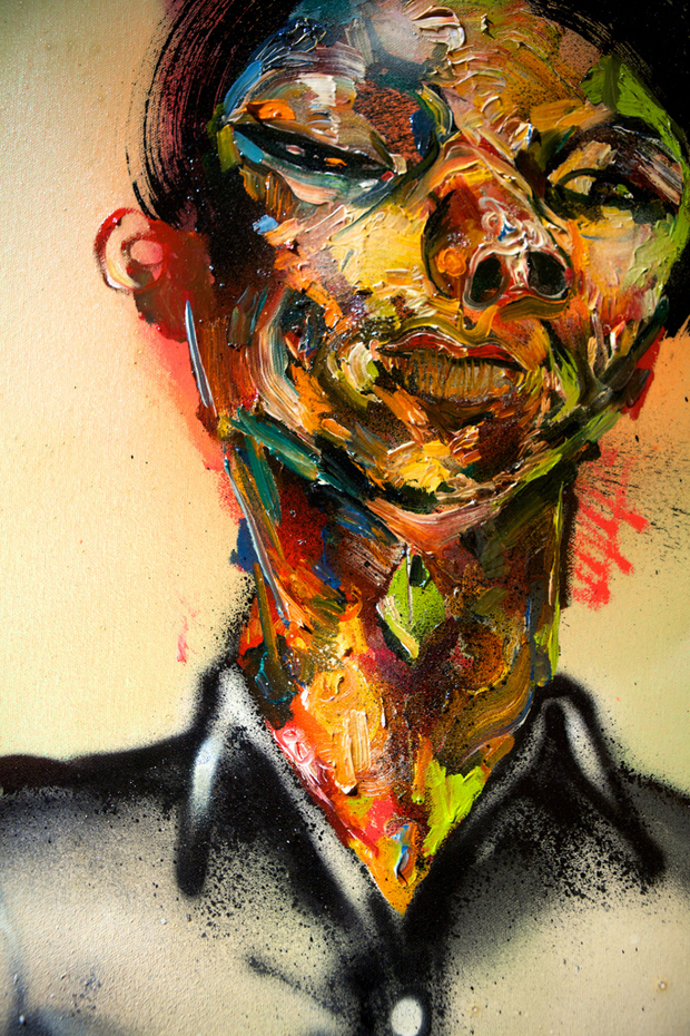 """Wayne"" by David Choe, 2010. Mixed media, acrylic, latex, oil paint, oil stick, spray paint on canvas"