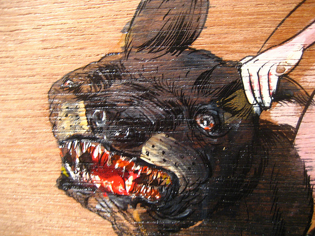 Dog detail from David Choe painting