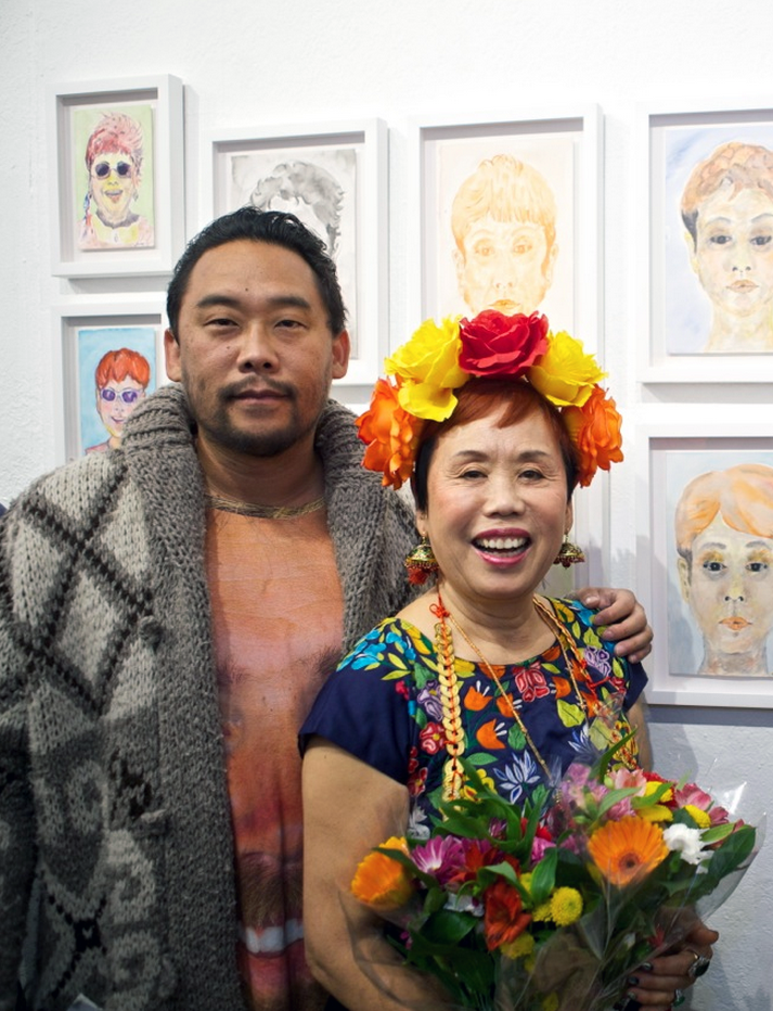 "David Choe with his mother, artist Jane Choe, at the opening of her art show, ""Artistically Transmitted Diseases"" with Critter Flemming.  FIFTY24SF Gallery in San Francisco, 2014."