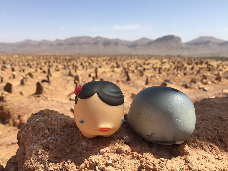 Munkos in love. David Choe vinyl toy munkette and munko in Morocco.